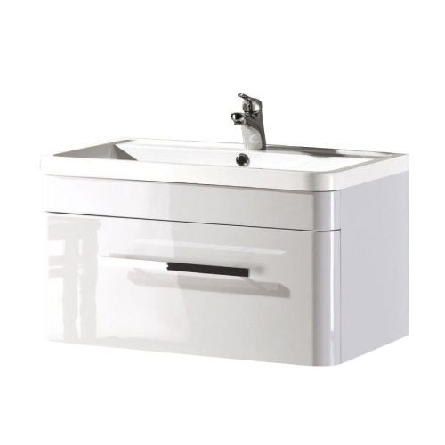 Crystal 800mm White Gloss Wall Mounted Vanity Unit & Basin